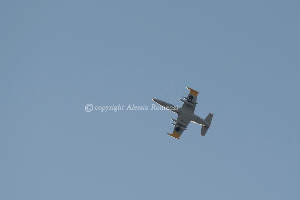 Libya: A Misurata jet fighter AERO L-39 over Sirte. Alessio Romenzi