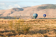 Hot air balloons photographed in the Jezreel Valley, Israel Mount Gilboa in the background