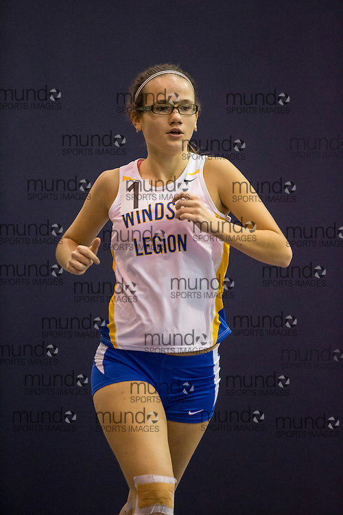 Maya Hannagan of Windsor Legion competes at the STL-LW All Comers Meet # 2 in London, Ontario, Saturday, January 24, 2015.<br /> Mundo Sport Images/ Geoff Robins