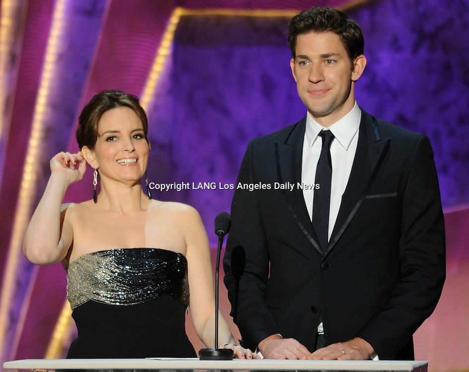 Tina Fey and John Krasinski present Male Actor in a Drama Series. The 18th Annual Screen Actors Guild Awards were held at the Shrine Exposition Center in Los Angeles, CA 1/29/2012(John McCoy/Staff Photographer)
