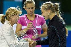 Mima Jausovec, second placed team Marina Erakovic of New Zealand and Anna Chakvetadze of Russia at the trophy ceremony after the final match of Doubles at Banka Koper Slovenia Open WTA Tour tennis tournament, on July 24, 2010 in Portoroz / Portorose, Slovenia. (Photo by Vid Ponikvar / Sportida)