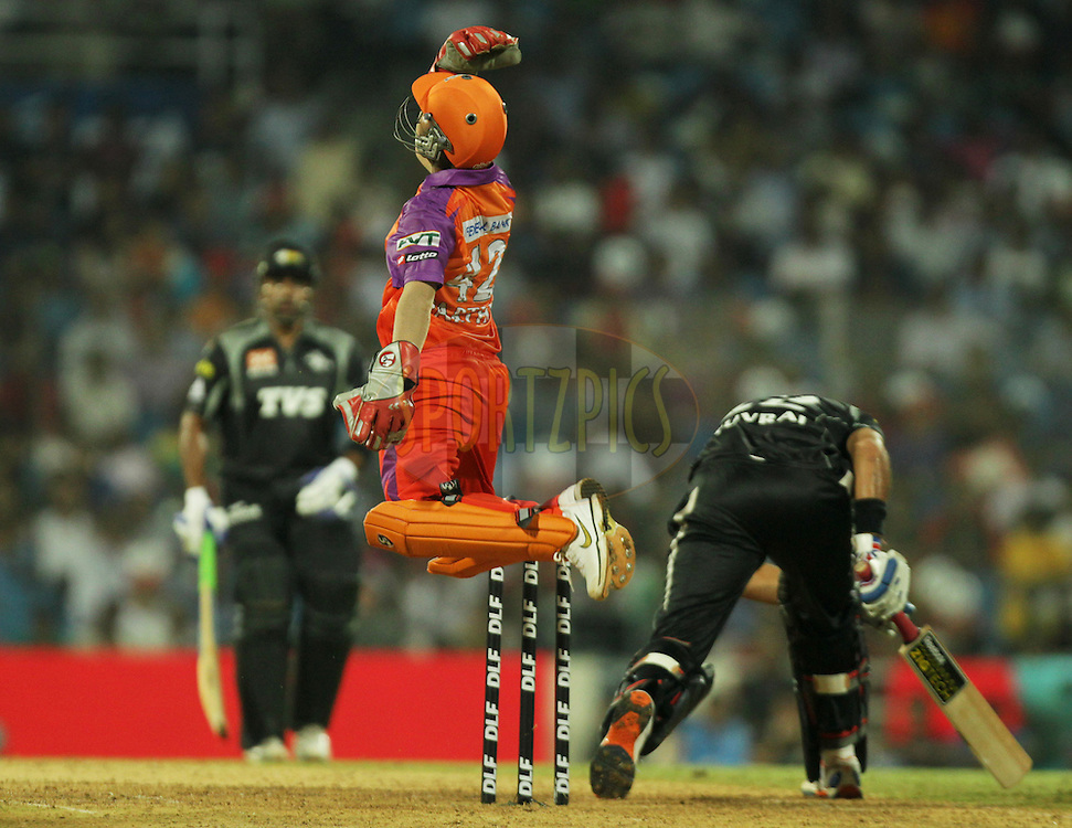 Parthiv Patel of Kochi Tuskers Kerala celebrates after taking the cath of Pune Warriors captain Yuvraj Singh during  match 10 of the Indian Premier League ( IPL ) Season 4 between the Pune Warriors and the Kochi Tuskers Kerala held at the Dr DY Patil Sports Academy, Mumbai India on the 13th April 2011..Photo by BCCI/SPORTZPICS