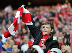 Bristol City fan does the Wembley Wave - Photo mandatory by-line: Dougie Allward/JMP - Mobile: 07966 386802 - 22/03/2015 - SPORT - Football - London - Wembley Stadium - Bristol City v Walsall - Johnstone Paint Trophy Final