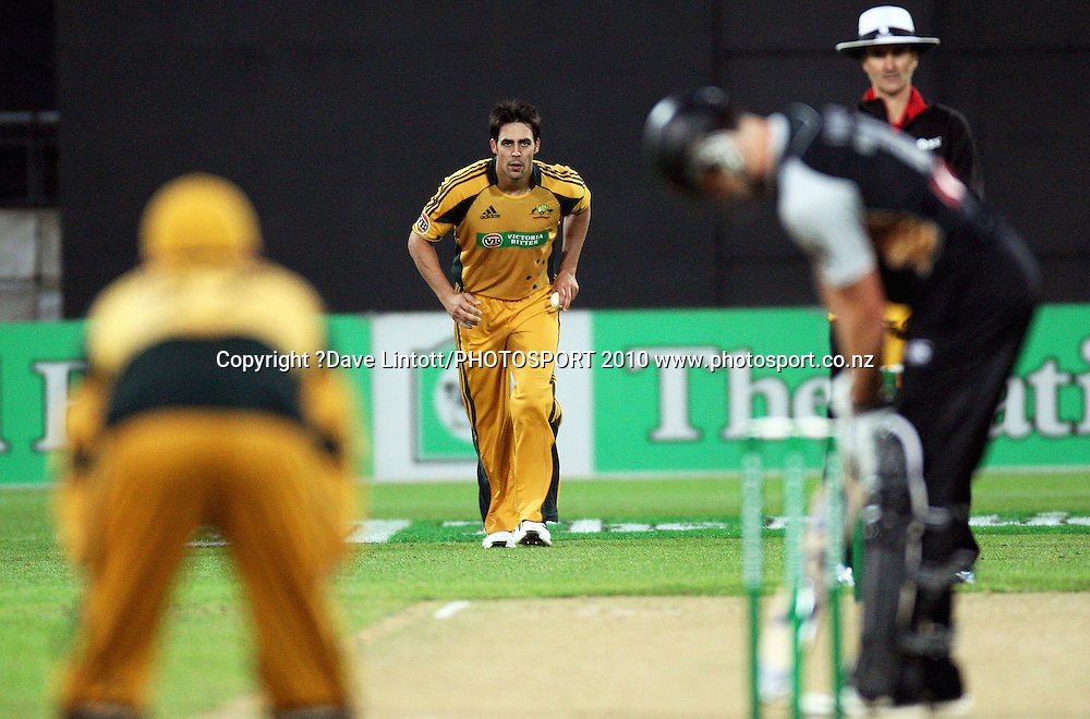 Australian bowler Mitchell Johnson.<br /> 1st Twenty20 cricket match - New Zealand v Australia at Westpac Stadium, Wellington. Friday, 26 February 2010. Photo: Dave Lintott/PHOTOSPORT