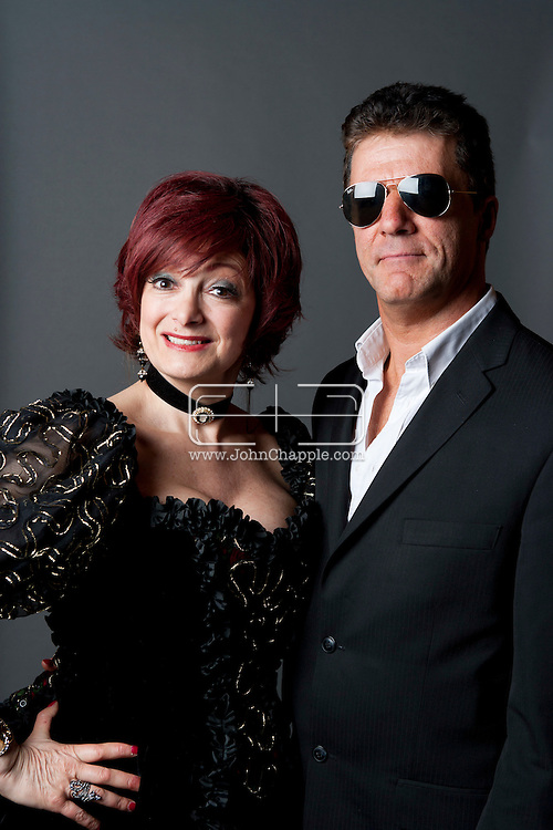 February 20th, 2012, Las Vegas, Nevada. The 21st Annual Reel Awards in Las Vegas where celebrity lookalikes show off their talents. Pictured here is Andy Monk as Simon Cowell with Caroline Bernstein as Sharon Osbourne..PHOTO © JOHN CHAPPLE / www.johnchapple.com.