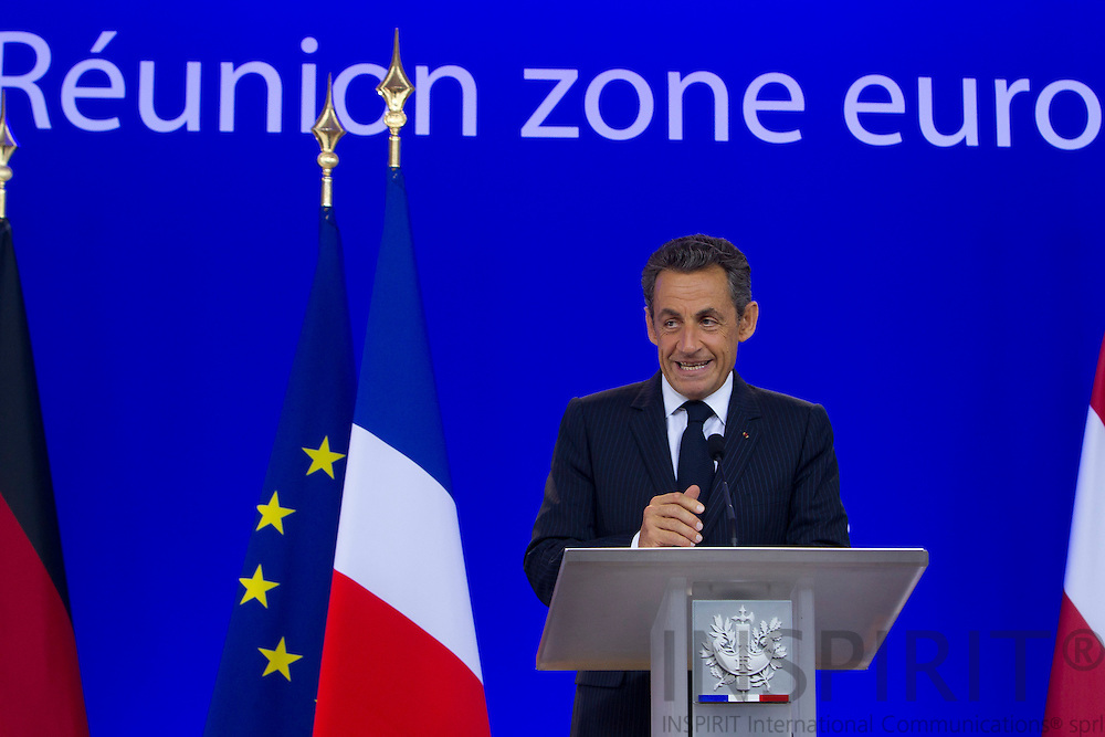French President Nicolas Sarkozy speaks during a media conference after an EU summit of eurogroup members at the EU Council building in Brussels on Thursday, July 21, 2011. PHOTO: ERIK LUNTANG / INSPIRIT Photo.