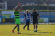 Goalscorer Forest Green Rovers Christian Doidge(9) applauds the fans at the end of the match during the Vanarama National League match between Guiseley  and Forest Green Rovers at Nethermoor Park, Guiseley, United Kingdom on 8 April 2017. Photo by Shane Healey.
