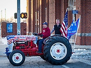 14 JANUARY 2020 - DES MOINES, IOWA: Trump supporters before the CNN Democratic Presidential Debate on the campus of Drake University in Des Moines. This is the last debate before the Iowa Caucuses on Feb. 3.    PHOTO BY JACK KURTZ