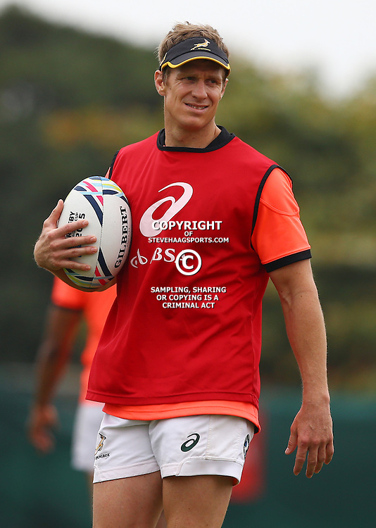 DURBAN, SOUTH AFRICA - SEPTEMBER 01: Jean de Villiers during the South African national rugby team training session at Peoples Park on September 01, 2015 in Durban, South Africa. (Photo by Steve Haag/Gallo Images)