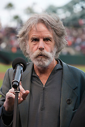 August 9, 2010; San Francisco, CA, USA;  Former Grateful Dead band member Bob Weir sings the national anthem as part of a tribute to Jerry Garcia before the game between the San Francisco Giants and the Chicago Cubs at AT&T Park.