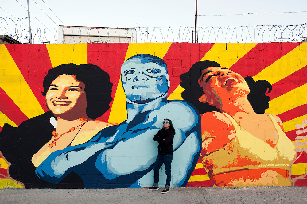 Ana Maria Cruz alias Ana Formismo in front of  her mural in Ciudad Juarez, Chihuahua, Mexico<br /> <br /> &copy; Stefan Falke<br /> www.stefanfalke.com<br /> La Frontera: Artists along the US Mexican Border
