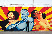 Ana Maria Cruz alias Ana Formismo in front of  her mural in Ciudad Juarez, Chihuahua, Mexico<br /> <br /> &copy; Stefan Falke<br /> www.stefanfalke.com<br /> La Frontera: Artists along the US Mexican Border