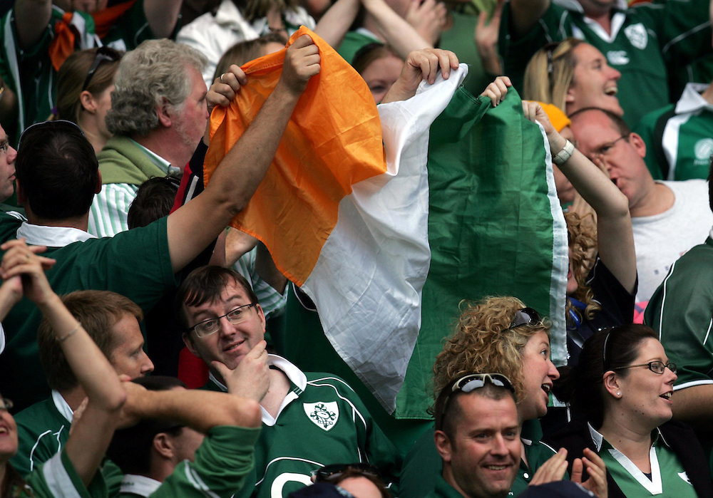Irish fans celebrate after Ireland score the second try. Ireland v Argentina, Parc Des Princes, Paris, France, 30th September 2007. Rugby World Cup 2007. ..