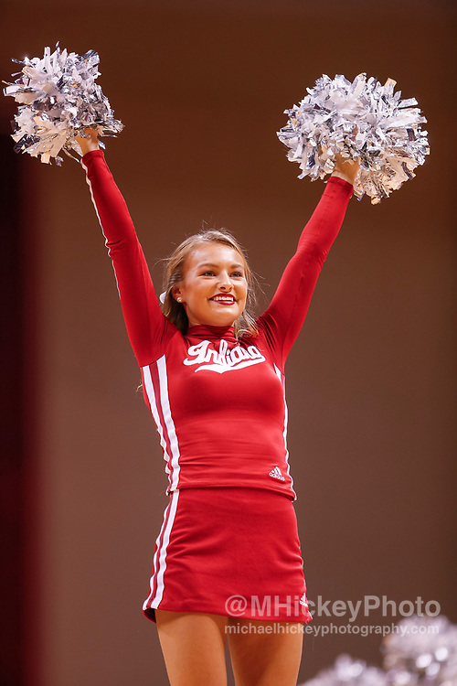 BLOOMINGTON, IN - NOVEMBER 19: An Indiana Hoosiers cheerleader is seen during the game against the South Florida Bulls at Assembly Hall on November 19, 2017 in Bloomington, Indiana. (Photo by Michael Hickey/Getty Images)