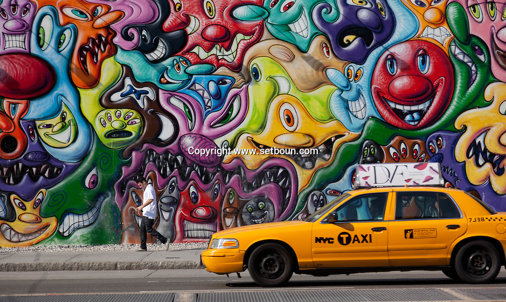 New York, Mural painting in Houston street in Soho Manhattan.