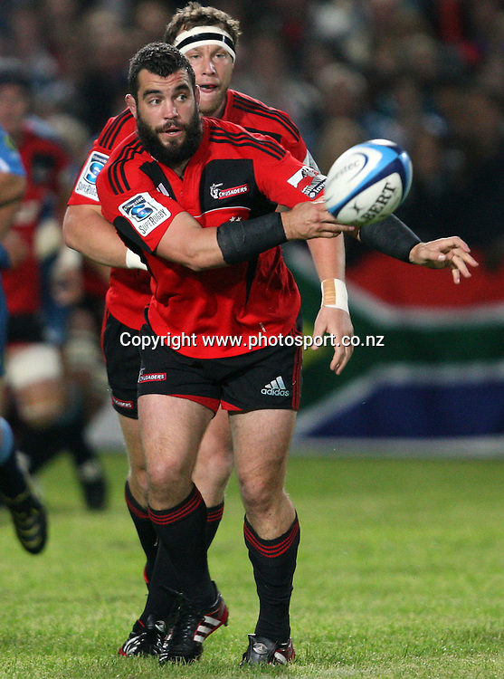 Corey Flynn passes the ball.<br /> Investec Super Rugby - Crusaders v Bulls, 9 April 2011, Alpine Energy Stadium, Timaru, New Zealand.<br /> Photo: Rob Jefferies / www.photosport.co.nz