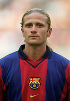 Emmanuel Petit - Barcelona. Barcelona v Lazio. The Amsterdam Tournament. Amsterdam Arena, 5/8/2000. Credit: Colorsport / Stuart MacFarlane.