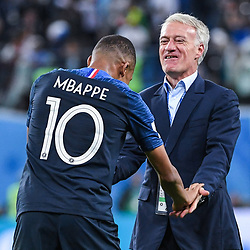 Kylian Mbappe of France celebrates the victory with Didier Deschamps head coach of France during the Semi Final FIFA World Cup match between France and Belgium at Krestovsky Stadium on July 10, 2018 in Saint Petersburg, Russia. (Photo by Anthony Dibon/Icon Sport)