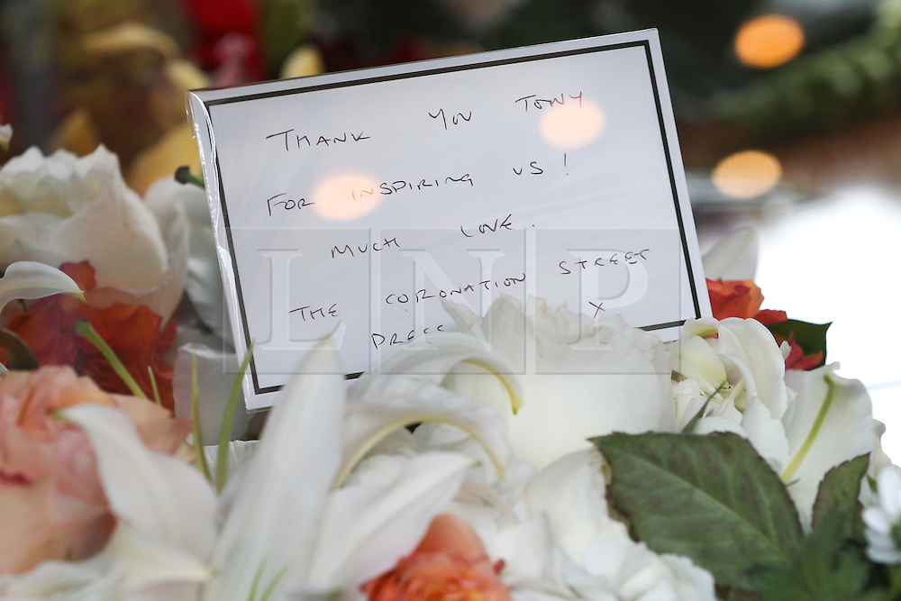 © Licensed to London News Pictures . 18/03/2016 . Manchester , UK . A note left on flowers at the service. Television stars and members of the public attend the funeral of Coronation Street creator Tony Warren at Manchester Cathedral . Photo credit : Joel Goodman/LNP