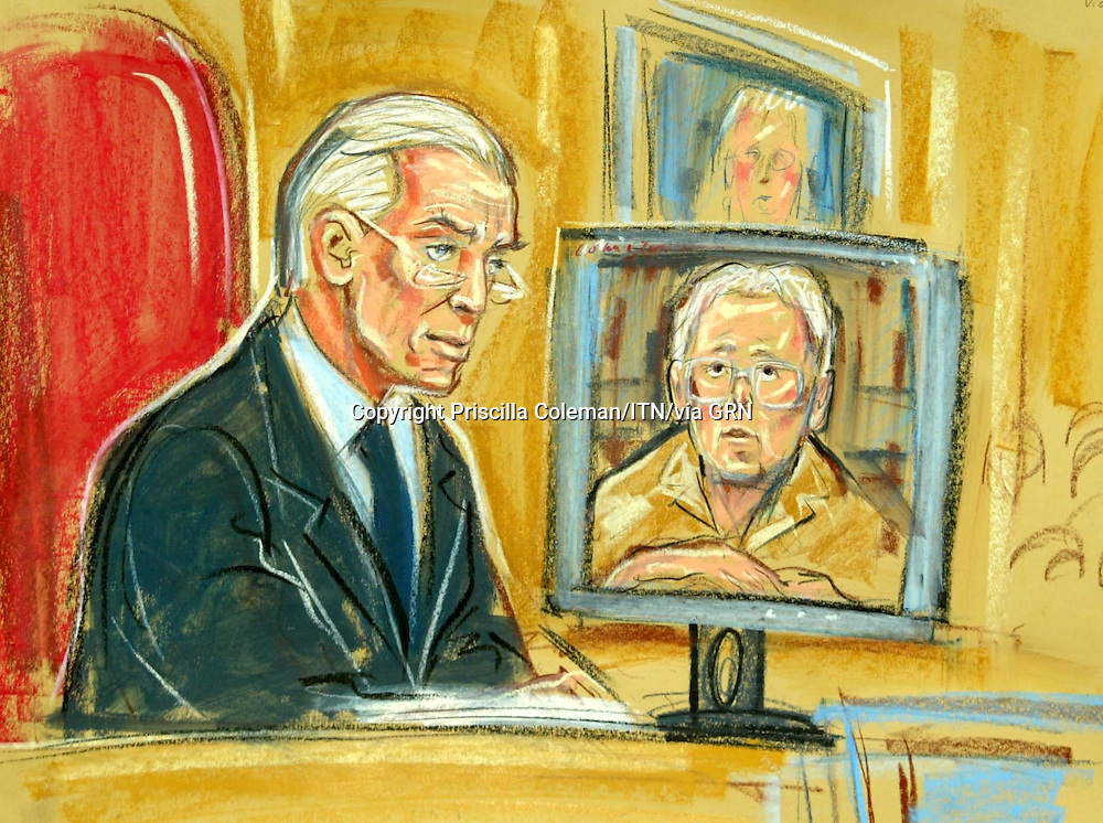 ©PRISCILLA COLEMAN (ITV) 02.09.03.ARTWORK SHOWS: LORD HUTTON AND RUTH ABSALOM AT THE HIGH COURT TODAY, WHERE SHE APPEARED VIA VIDEO LINK AS A WITNESS IN THE HUTTON INQUIRY INTO THE DEATH OF DR DAVID KELLY..ARTWORK BY: PRISCILLA COLEMAN (ITV)