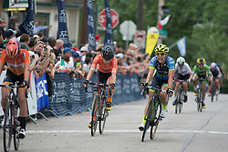 Annie Ewart (USA) of Tibco Cycling Team outsprints Heather Fisher (USA) of Rally Cycling Team for fifth place during the Philadelphia International Cycling Classic, a 117.8 km road race in Philadelphia on June 5, 2016 in Philadelphia, PA.