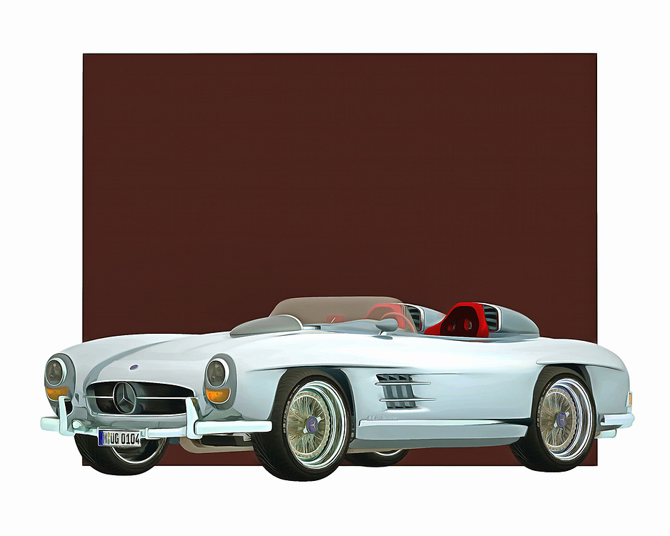 When you imagine a name like Mercedes, what are some of the visuals that come to mind? Do you imagine the open road? Can you see yourself in this iconic roadster, speeding off to some grand destination? This digital painting brings all of those feelings back to the forefront of your dreams. .<br />