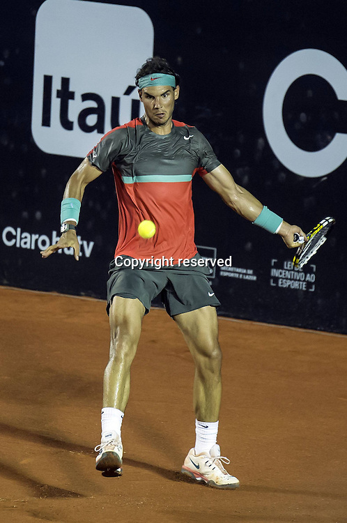 22.02.2014. Rio De Janeiro, Brazil. Rio Open Tennis Championships.   Rafael Nadal of Spain returns the ball to Joao Sousa of Portugal during their 2014 Rio Open quarter-final match in Rio de Janeiro, Brazil, on Feb. 21, 2014. Nadal won 2-0.