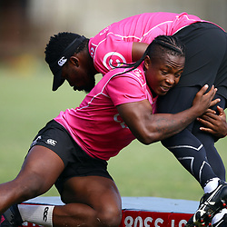 S'busiso Nkosi of the Cell C Sharks tackling Lwazi Mvovo of the Cell C Sharks during the cell c sharks training session and Press Conference at Jonsson Kings Park Stadium,Durban.South Africa. 17,05,2018 Photo by Steve Haag)