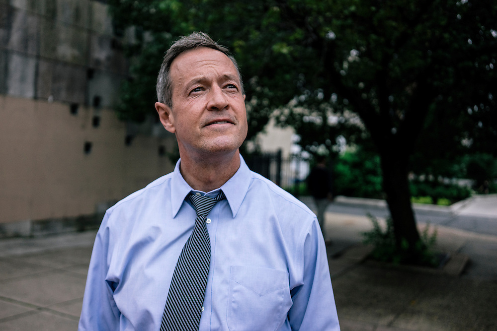 Former Maryland Governor Martin O'Malley tours a section of Baltimore on Thursday, May 21, 2015. O'Malley is considering a run for President of the United States.