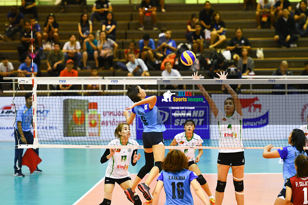 BANGKOK, THAILAND - MARCH 24: Preeya Hindam of 3BB Nakornnont #5 going for a spike as Siriporn Sooksen of King-Bangkok VC #4 attempt to block during the 2017 Women's Volleyball Thai-Denmark Super League, MCC Hall The Mall , Bangkok, Thailand on March 24, 2017.<br /> .<br /> .<br /> .<br /> (Photo by: Naratip Golf Srisupab/SEALs Sports Images)<br /> .<br /> Any image use must include a mandatory credit line adjacent to the content which should read: Naratip Golf Srisupab/SEALs Sports Images