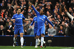 LONDON, ENGLAND - Sunday, February 7, 2010: Chelsea's Didier Drogba celebrates scoring his side's opening goal during the Premiership match at Stamford Bridge. (Photo by Chris Brunskill/Propaganda)