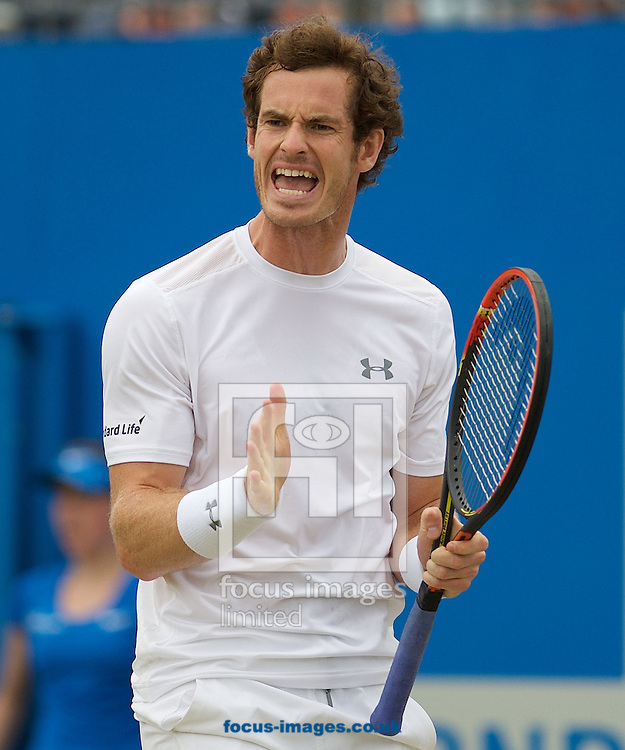 Andy Murray of Great Britain shows his frustration during his semi-final final match against Viktor Troicki of Serbia in Aegon Championships at the Queen's Club, West Kensington<br /> Picture by Alan Stanford/Focus Images Ltd +44 7915 056117<br /> 20/06/2015