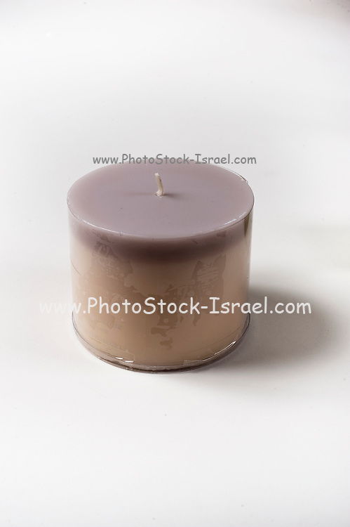 Cutout of an aromatic candle on white background the candle is used during a massage to relax the patient