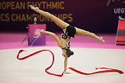 Dina Averina ,Russia, takes gold on ribbon during the 33rd European Rhythmic Gymnastics Championships at Papp Laszlo Budapest Sports Arena, Budapest, Hungary on 21 May 2017. Photo by Myriam Cawston.