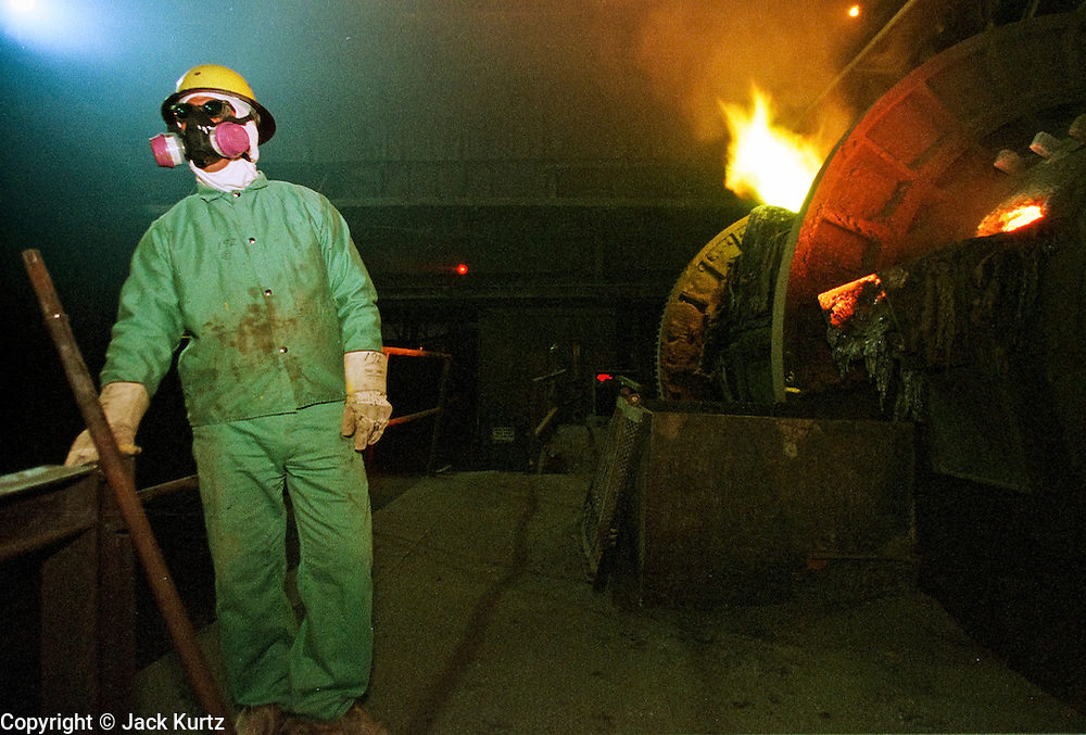 29 JANUARY 1999  - EL PASO, TEXAS: Joe Raigoso, a lugman at the Asarco copper smelter in El Paso, Texas, waits for a 70 ton ladle of molten copper to brought to the furnace at the smelter. Asarco mothballed the smelter for at least three years because of low prices in the copper industry. In mid 1997, copper was selling for approximately $1.20 per pound, it is currently selling for about .65 cents per pound, forcing copper producers like Asarco to take drastic belt tightening measures. About 370 workers were laid off as the plant's machinery was mothballed. Closure of the Asarco smelter comes on the heels of the closure of copper mines in southern New Mexico owned by the Phelps-Dodge company, an Asarco competitor. Asarco officials have said they may reopen the plant if copper prices rebound. Photo by Jack Kurtz / ZUMA Press