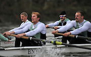 """LONDON, ENGLAND - Thursday  13/12/2012; Cambridge University Crew;  """"Bangers"""" [Background] left Niles GARRETT and Milan BRUNCVIK, during the annual Varsity trial 8's for The BNY Melon University Boat Race over the Championship Course [Putney to Mortlake]. The River Thames, England. (Mandatory Credit/ Peter  Spurrier/Intersport Images]"""