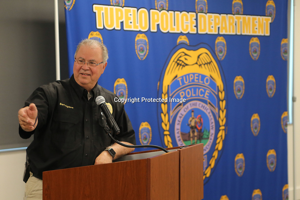 Bart Aguirre, Tupelo Police Chief, speaks during the citizens police academy culmination ceremony Monday night at the Tupelo Police Department.