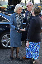 HRH Camilla the Duchess of Cornwall arrives and meets staff at Trinity Hospice in Clapham, London, UK.<br /> Wednesday, 19th February 2014. Picture by Ben Stevens / i-Images