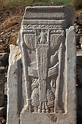 Relief of a caduceus, the winged staff of Mercury, messenger to the gods, on a milestone on Curetes Street, Ephesus, Izmir, Turkey. Ephesus was an ancient Greek city founded in the 10th century BC, and later a major Roman city, on the Ionian coast near present day Selcuk. Picture by Manuel Cohen