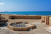 The bathhouse of the private wing of the Byzantine governor's palace Caesarea, a town built by Herod the Great about 25 - 13 BC, lies on the sea-coast of Israel about halfway between Tel Aviv and Haifa, Remains of all the principal buildings erected by Herod existed down to the end of the 19th century. Remains of the medieval town are also visible, consisting of the walls (one-tenth the area of the Roman city), the castle, the site of the modest Crusader cathedral and church.