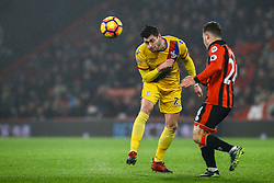 Joel Ward of Crystal Palace heads the ball under pressure from Ryan Fraser of Bournemouth - Mandatory by-line: Jason Brown/JMP - 31/01/2017 - FOOTBALL - Vitality Stadium - Bournemouth, England - Bournemouth v Crystal Palace - Premier League