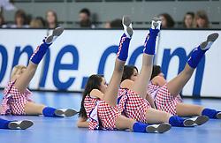 Croatian cheerleaders during 21st Men's World Handball Championship preliminary Group C match between National teams of Germany and Poland, on January 22, 2009, in Arena Varazdin, Varazdin, Croatia.  (Photo by Vid Ponikvar / Sportida)