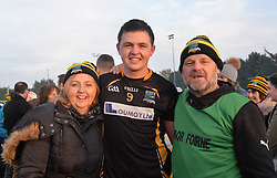 Man of the match Padraig Prendergast celebrates with his parents Beatrice and John after their Connacht junior final win over Creggs.<br />