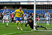 Jack Harrison (22) of Leeds United is unable to score as Matt Ingram (1) of Queens Park Rangers covers the post during the The FA Cup 3rd round match between Queens Park Rangers and Leeds United at the Loftus Road Stadium, London, England on 6 January 2019.