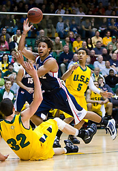January 30, 2010; San Francisco, CA,USA;  Gonzaga Bulldogs guard Steven Gray (32) fouls San Francisco Dons forward Angelo Caloiaro (32) on a charge during the first half at the War Memorial Gym.   San Francisco defeated Gonzaga 81-77 in overtime.