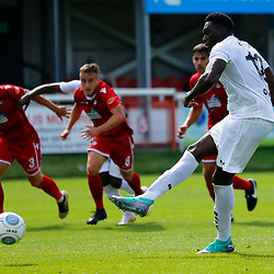 Dovers forward Inih Effiong takes the penalty and Wrexhams keeper Robert Lainton saves the ball during the opening National League match between Dover Athletic and Wrexham FC at Crabble Stadium, Kent on 04 August 2018. Photo by Matt Bristow.