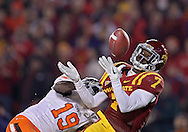 November 18, 2011: Iowa State Cyclones wide receiver Darius Reynolds (7) can't pull in a pass as Oklahoma State Cowboys cornerback Brodrick Brown (19) defends during the the NCAA football game between the Oklahoma State Cowboys and the Iowa State Cyclones at Jack Trice Stadium in Ames, Iowa on Friday, November 18, 2011. Iowa State upset Oklahoma State 37-31 double overtime.