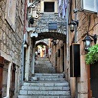 Stairs Up Biskupa Luke Tolentića in Korčula, Croatia<br />