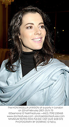 The HON.NIGELLA LAWSON at a party in London on 22nd February 2001.OLN 73
