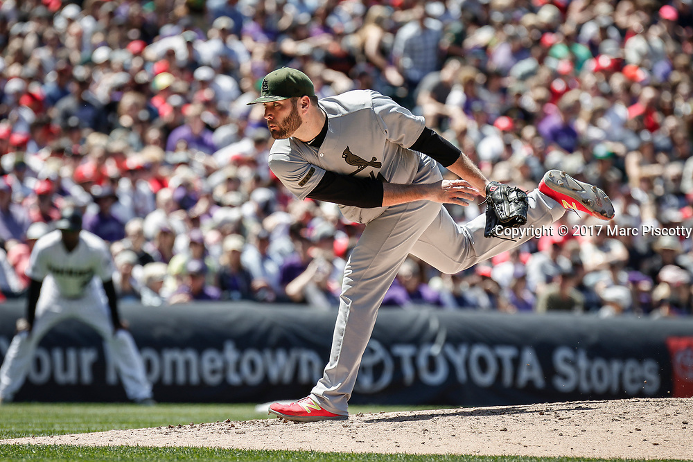 SHOT 5/28/17 1:16:25 PM - St. Louis Cardinals pitcher Lance Lynn #31 pitches against the Colorado Rockies during their regular season MLB game at Coors Field in Denver, Co. The Rockies won the game 8-4. (Photo by Marc Piscotty / © 2017)